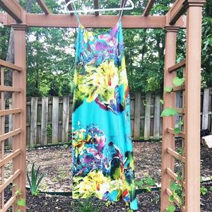 Natori Silky Abstract Floral Print Nightgown